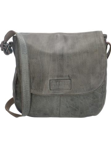 Old West Leren schoudertas grijs - (B)26 x (H)25 x (D)7 cm