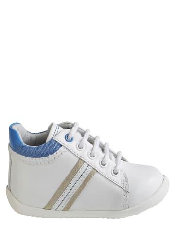 Vertbaudet Skórzane sneakersy w kolorze białym