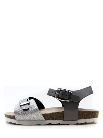 Lamino Sandalen zilverkleurig/zwart