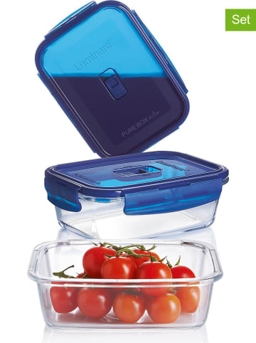 "Luminarc 3-delige set: vershoudboxen ""Pure"" turquoise/blauw"