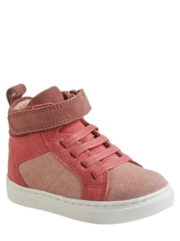 Vertbaudet Skórzane sneakersy w kolorze czerwono-jasnoróżowym