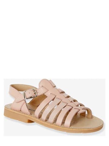 Vertbaudet Skórzane sandały w kolorze jasnoróżowym