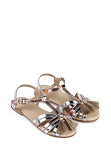 Carrément beau Leder-Sandalen in Silber