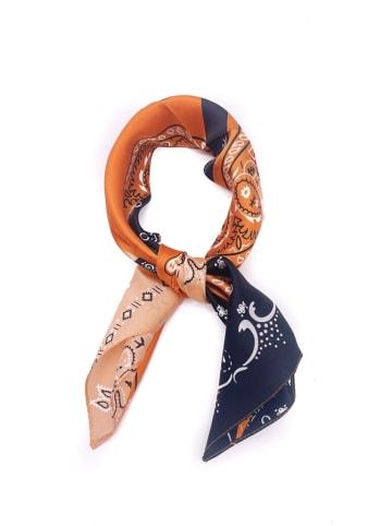 Made in Silk Jedwabna chusta w kolorze pomarańczowo-czarnym ze wzorem - (D)52 x (S)52 cm