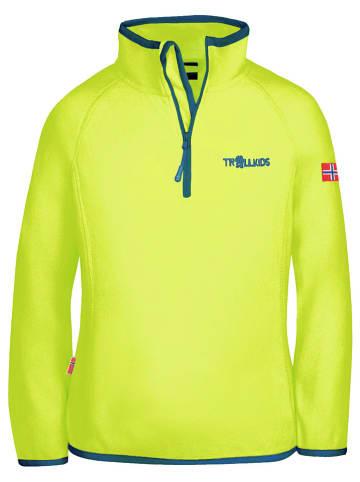 """Trollkids Bluza polarowa """"Nordland"""" w kolorze żółtym"""