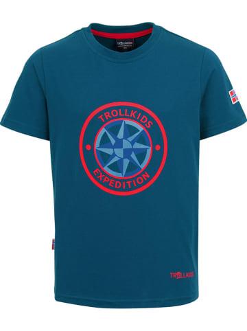 """Trollkids Koszulka funkcyjna """"Windrose"""" w kolorze niebieskim"""