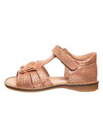 BO-BELL Skórzane sandały w kolorze łososiowo-złotym