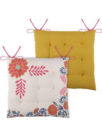 """STOF France Poduszka """"Anya"""" w kolorze kremowym ze wzorem do siedzenia - 40 x 40 cm"""