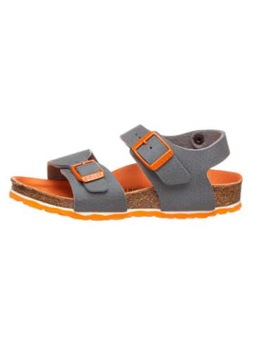 """Birkenstock Sandalen """"New York"""" grijs/oranje - wijdte S"""