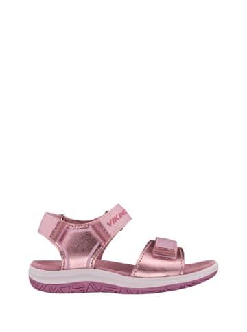 Viking Skórzane sandały w kolorze różowym