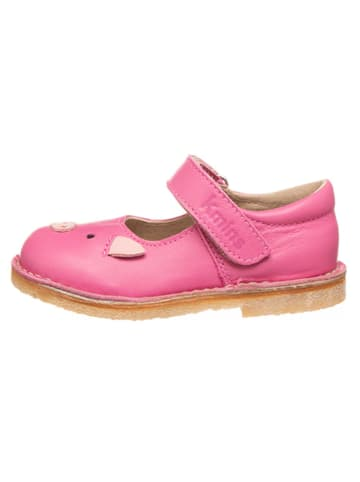 Kmins Skórzane baleriny w kolorze różowym z paskiem