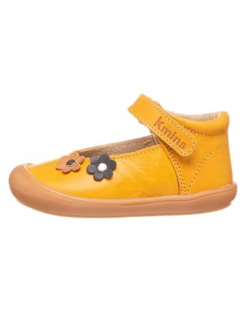 Kmins Leren ballerina's met bandje geel