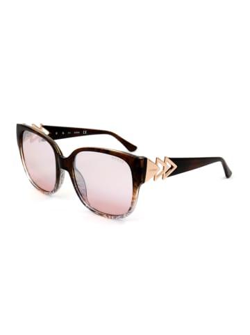 Guess Dameszonnebril donkerbruin-roségoudkleurig/lichtroze