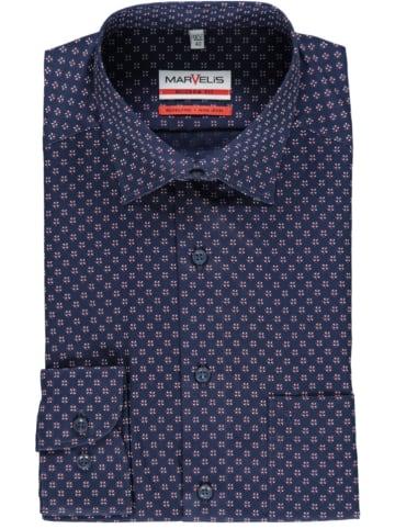 MARVELIS Blouse - modern fit - donkerblauw/bordeaux