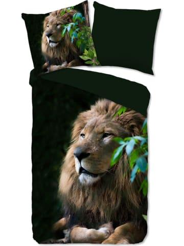 """Pure Komplet pościeli """"Lion"""" w kolorze ciemnozielonym z mikrofibry"""