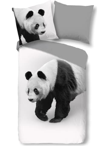 """Pure Microvezel beddengoedset """"Panda"""" grijs/wit"""