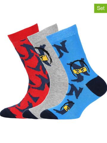 """Legowear Skarpety (3 pary) """"M12010356"""" w kolorze szarym, czerwonym i niebieskim"""