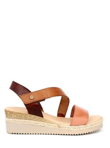 Qualä Skórzane sandały w kolorze brązowo-jasnoróżowym