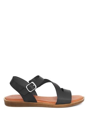 Qualä Leder-Sandalen in Schwarz