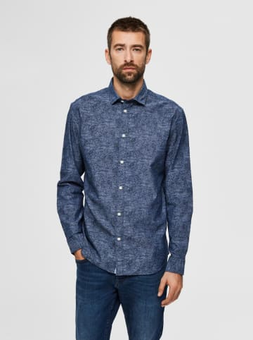 """SELECTED HOMME Blouse """"Marc"""" donkerblauw"""