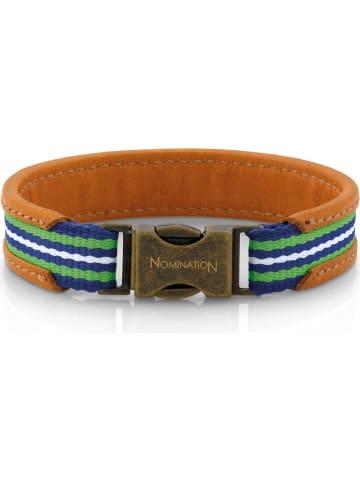 Nomination Leder-Armband in Hellbraun/ Grün/ Blau