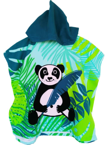 "Le Comptoir de la Plage Badponcho ""Kids - Panda"" groen/blauw - (L)120 x (B)60 cm"