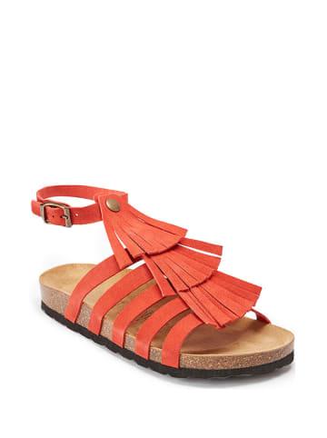 Mandel Leder-Sandalen in Rot