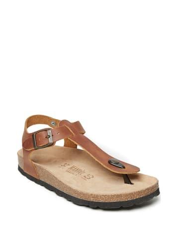Mandel Skórzane sandały w kolorze jasnobrązowym