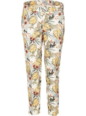Nickjean Spodnie w kolorze kremowym ze wzorem