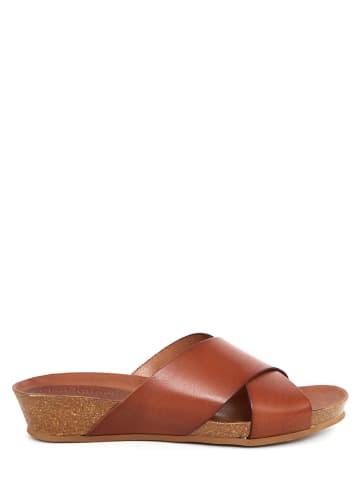 CLKA Skórzane klapki w kolorze brązowym