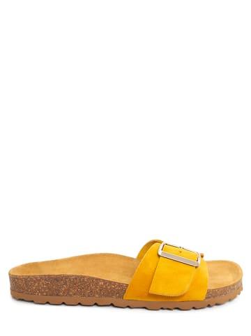 CLKA Skórzane klapki w kolorze żółtym