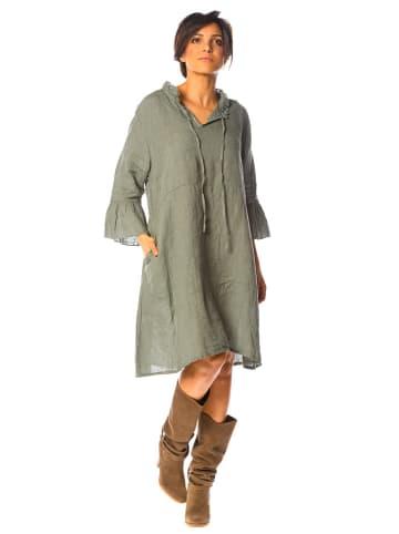 La Compagnie Du Lin Lniana sukienka w kolorze khaki