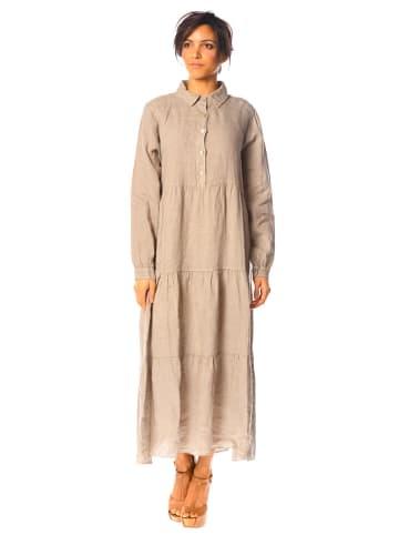 "La Compagnie Du Lin Linnen jurk ""Gaillet"" beige"