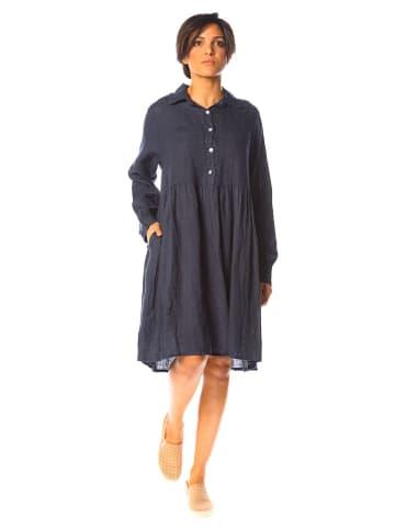 "La Compagnie Du Lin Linnen jurk ""Jasmin"" donkerblauw"