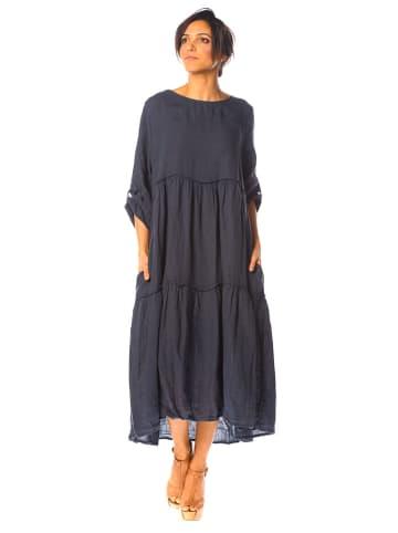 """La Compagnie Du Lin Lniana sukienka """"Muscari"""" w kolorze granatowym"""