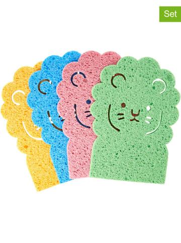 """Rice 4-delige set: sponzen """"Leeuw"""" meerkleurig - (B)15 x (H)20 cm"""