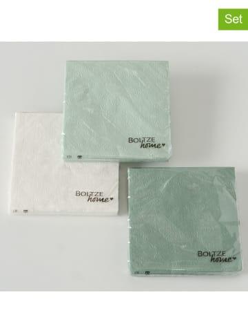 "Boltze 3-delige set: servetten ""Flora"" groen/wit - 3x 20 stuks"