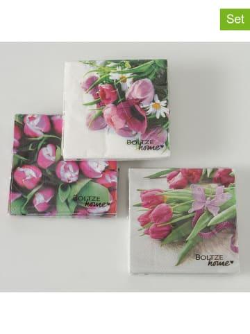 "Boltze 3-delige set: servetten ""Tulpen"" roze/groen - 3x 20 stuks"