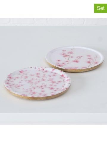 "Boltze 2-delige set: borden ""Sakura"" lichtroze - Ø 25 cm"