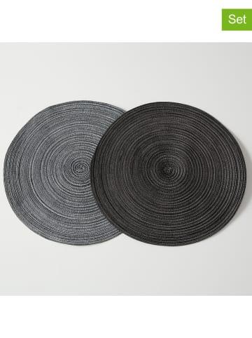 """Boltze 2er-Set: Tischsets """"Bibi"""" in Schwarz/ Grau - Ø 38 cm"""