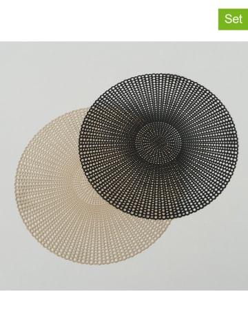 "Boltze 2-delige set: placemats ""Bibi"" zwart/beige - Ø 40 cm"