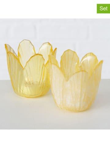 """Boltze 2-delige set: windlichten """"Tulpe"""" geel - (H)7 cm"""