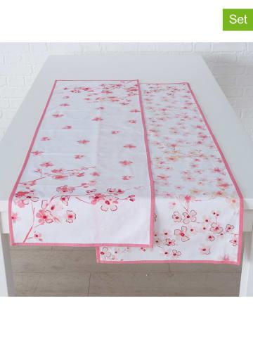 """Boltze 2-delige set: tafellopers """"Sakura"""" lichtroze/wit - (L)140 cm"""