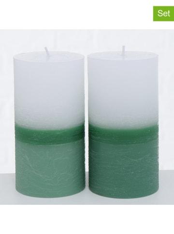 """Boltze 3-delige set: stompkaarsen """"Verde"""" groen - 2x 220 g"""