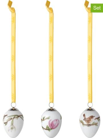 "Kähler 3-delige set: decoratieve hangers ""Hammershøi"" wit/geel - (H)4,7 cm - Ø 3,5"