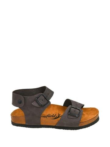 Moosefield Skórzane sandały w kolorze antracytowym