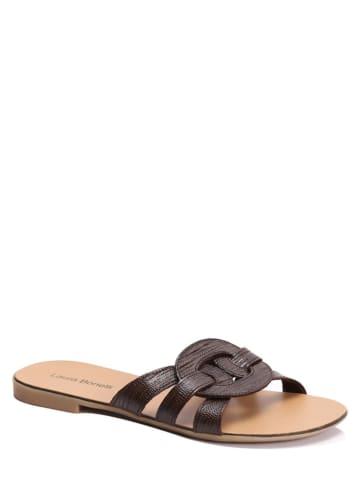 """Laura Bonelli Leren slippers """"Sandra"""" bruin"""