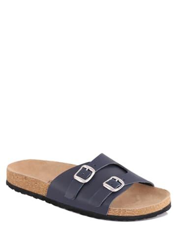 "Mas Provencal Leren slippers ""Vitalina"" donkerblauw"