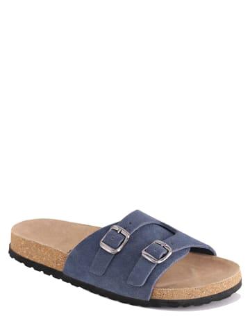 "Mas Provencal Leren slippers ""Vitalina"" blauw"