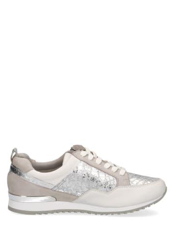 """Caprice Skórzane sneakersy """"Ginga"""" w kolorze beżowo-srebrnym"""